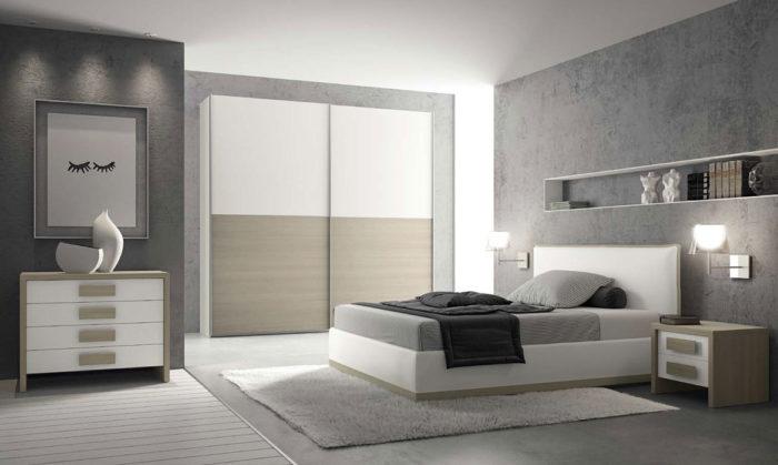 غرفة نوم كاملة رائعة باللون الرمادي والابيض والبيج