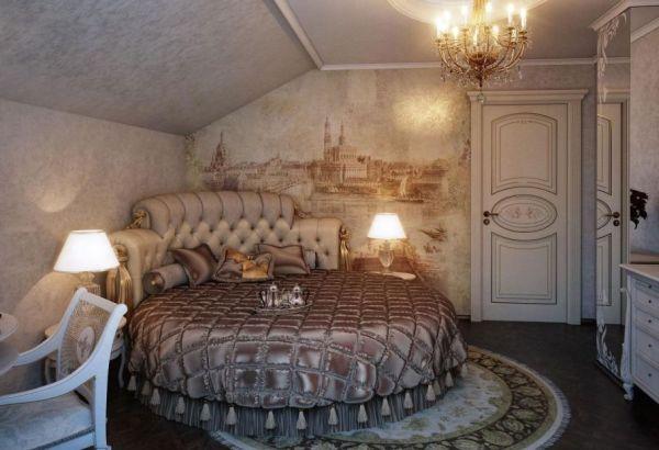 غرفة نوم كلاسيكية مكونة من سرير دائري متنجد