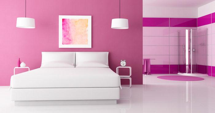غرفة نوم هادئة وجميلة باللون البينك