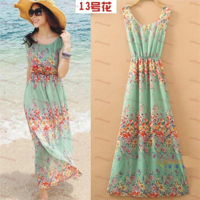فستان باللون الفيروزي منقوش بالورود رائع