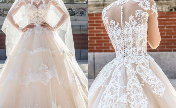 فستان بتصيم أنيق بأكمام طويل شفافة ومزينة ومضأف اليه الورود بشكل انيق