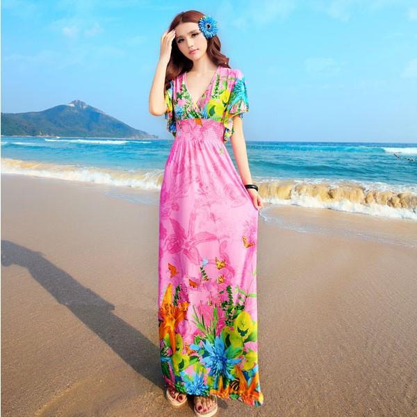 فستان بنصف كم طويل باللون الفوشيا
