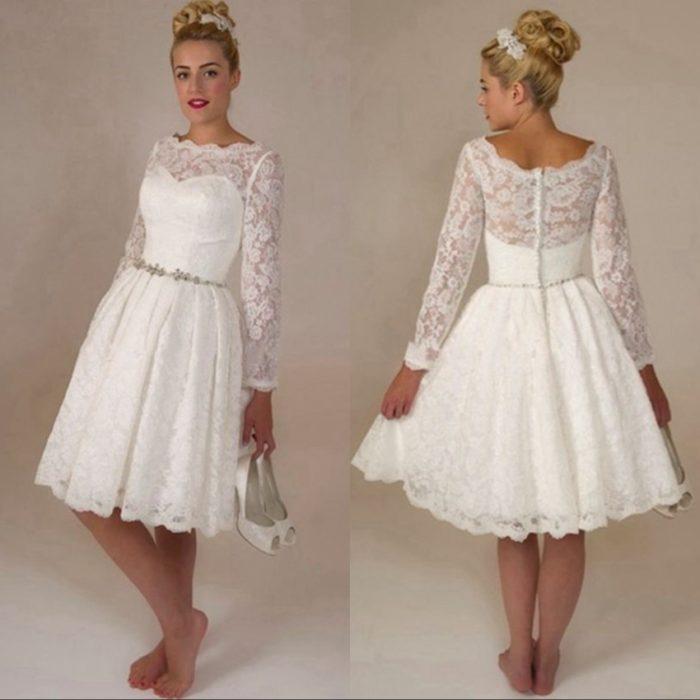 فستان زفاف بكممن خامةالدانل مع كسلرات ضيقة لأخفاء الخصر الممتلئ