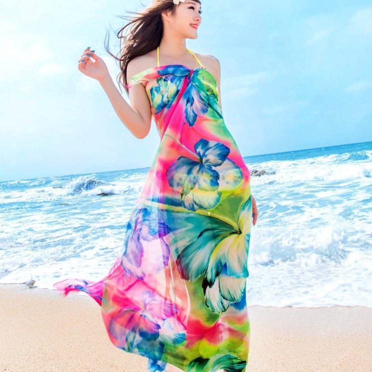 فستان شيفون طويل بالوان مبهجة