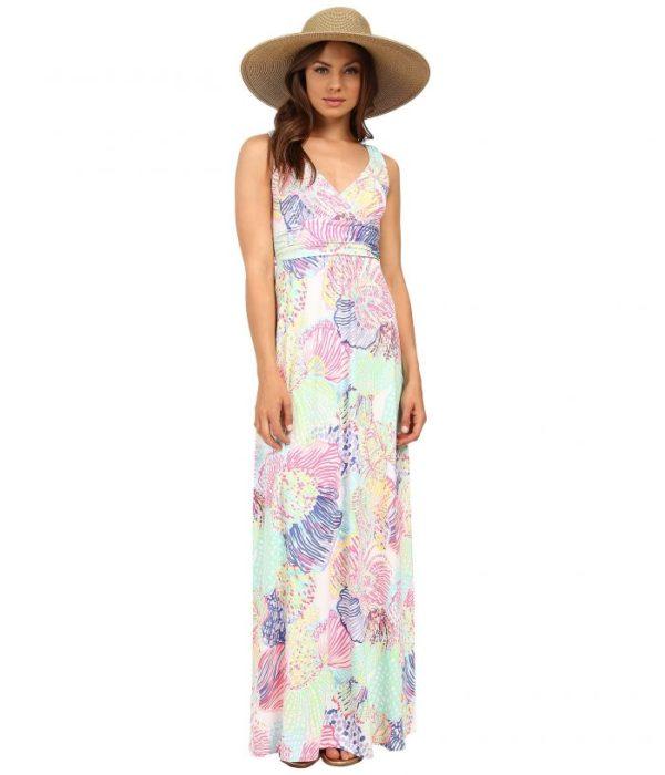 فستان طويل حلو جداُ بدون أكمام مع قبعة رائعة