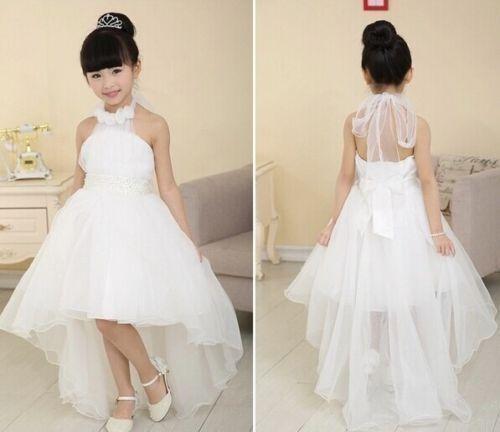 فستان من التول قصير من الأمام وطويل من الخلف مع لياقة مزينة بالورد الابيض
