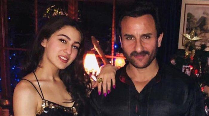 سيف علي خان مع ابنته سارة من زوجته الاولى امريتا سينغ