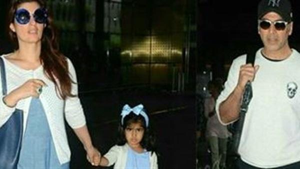 صورة تجمع بين النجم اكشاي كومار وزوجته وابنته