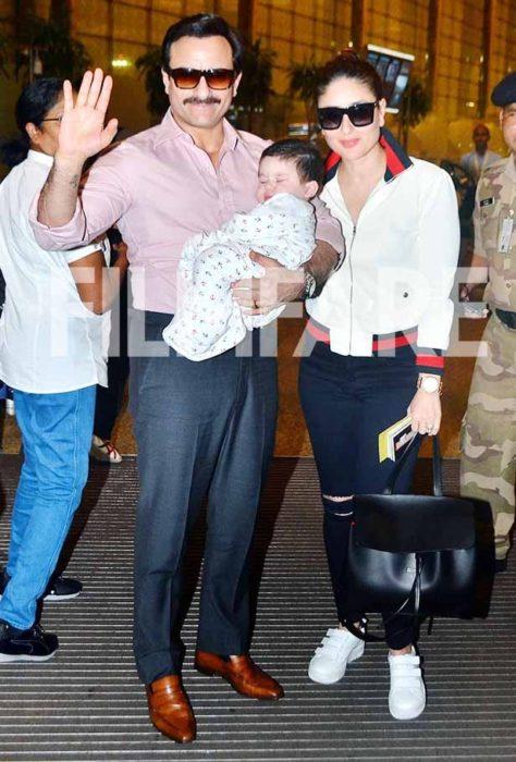 صورة جميلة جداً تجمع بين النجم سيف علي خان وزوجته كارينا كابور وابنه تيمور