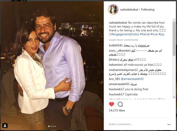 صورة لناهد السباعي مع زوجها محمد عبد ربه