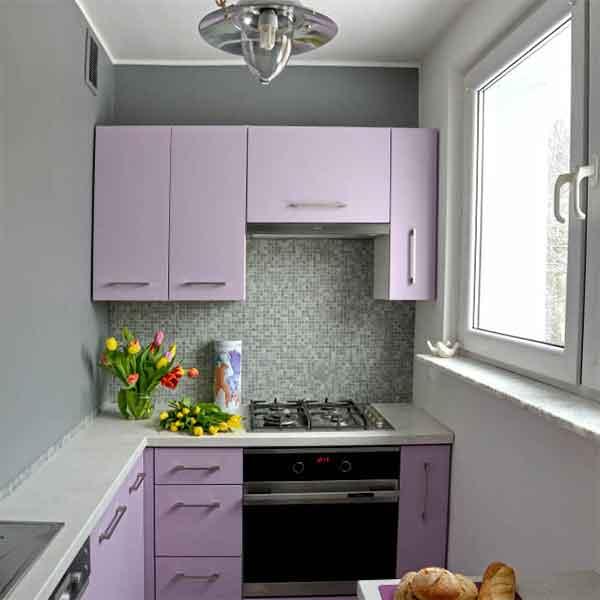مطابخ الوميتال باللون الموف الفاتح صغير مناسب اللاماكن ذات المساحة الصغيرة
