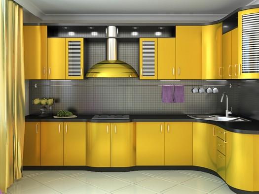 مطبخ اوميتال باللون الاصفر بتصميم مميز وجميل