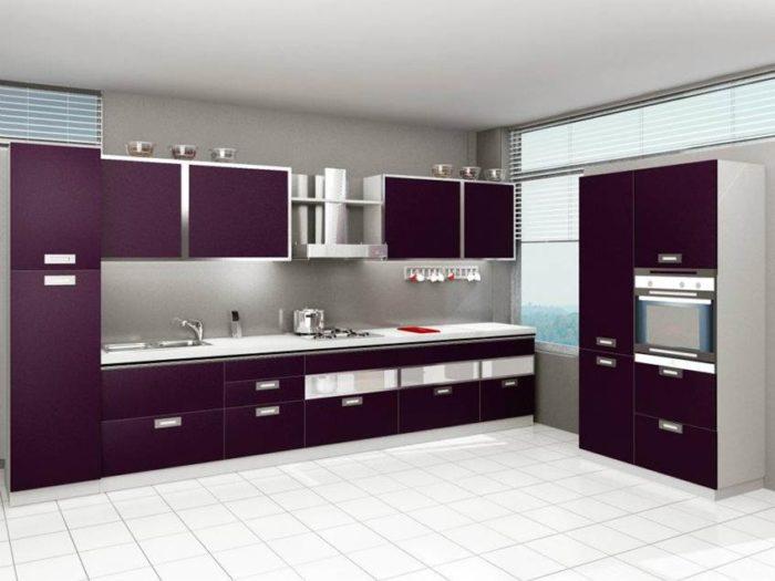 مطبخ بتصميم أنيق وعصري جداً باللون البنفسجي