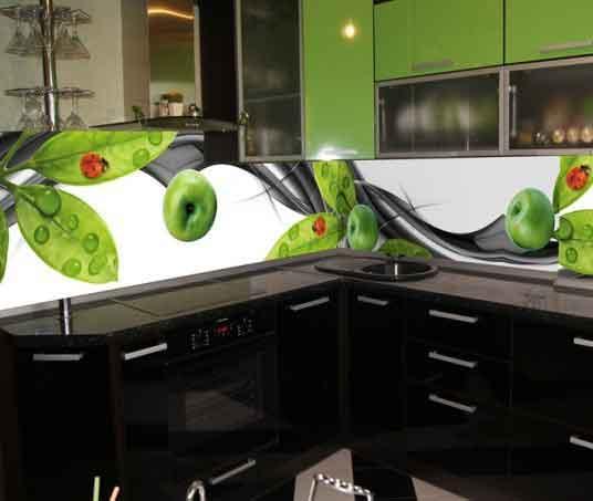 مطبخ بتصميم رائع وجميل باللون الاسود والاخضر