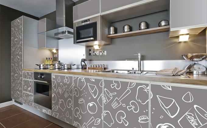 مطبخ بيج مطبوع عليه رسومات باللون الابيض