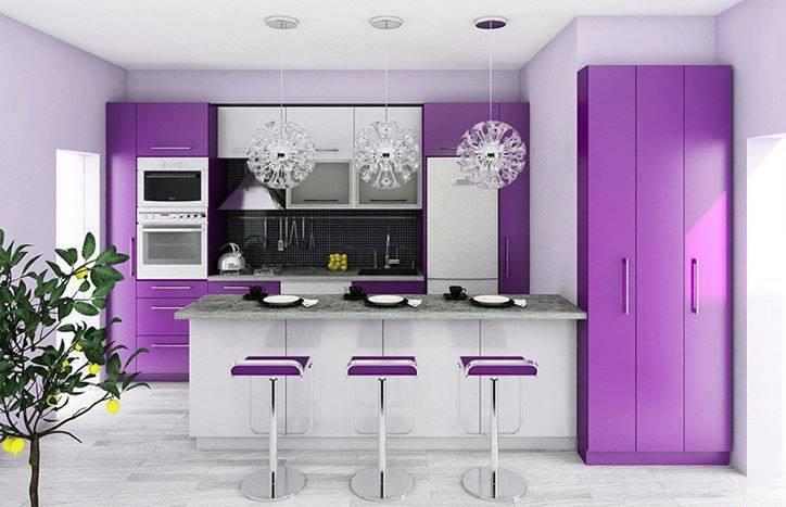 مطبخ مودرن جديد باللون الموف والابيض