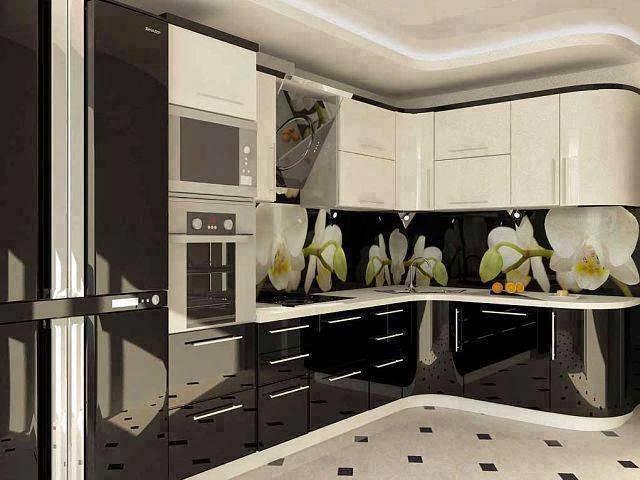 ممطبخ الوميتال رائع وفي منتهى الشياكة باللون الابيض والاسود