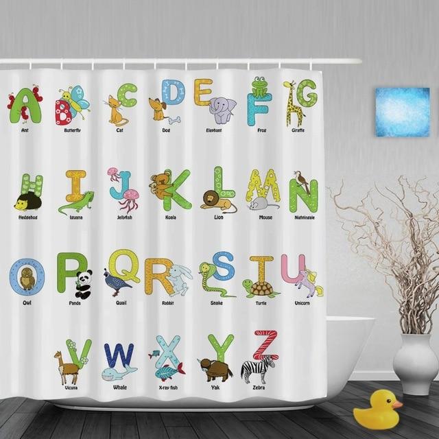 ستائر أطفال للحمامات مطبوع عليها حروف