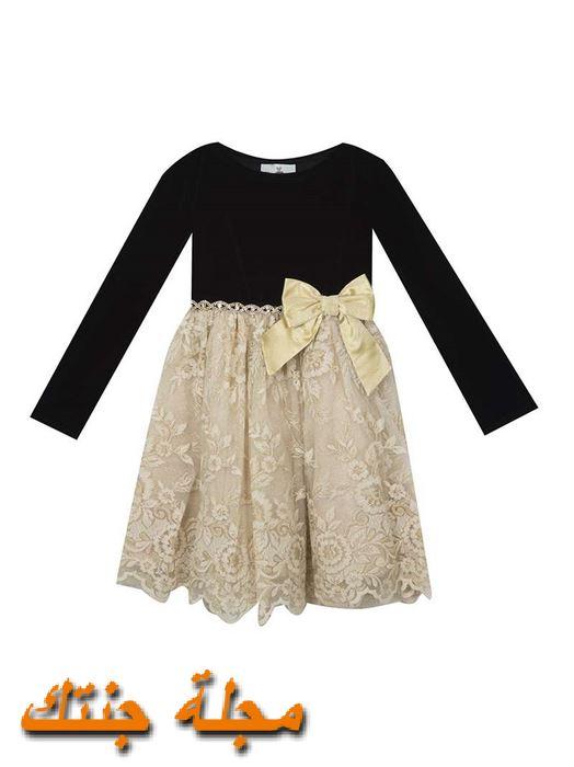فستان أطفال شتوي تركي باللون الاسود والبيج