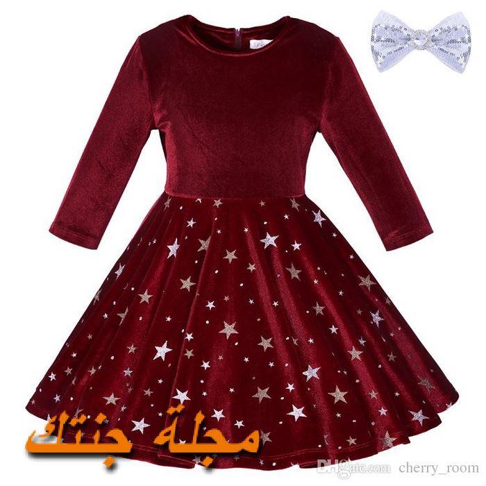 فستان أطفال شتوي قطيفة باللون النبيتي