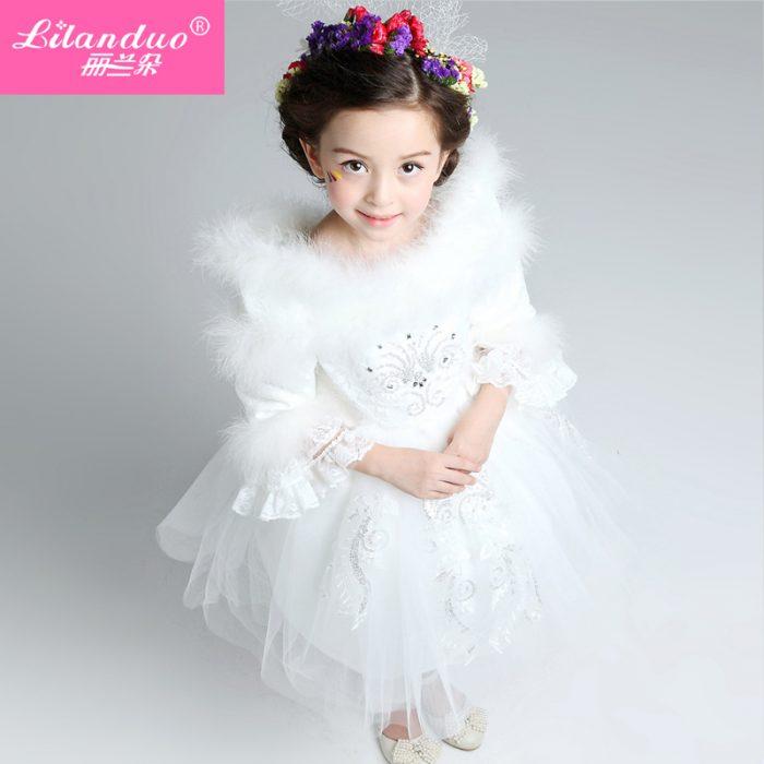فستان أطفال شتوي للزفاف جميل وجديد