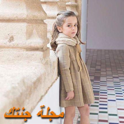 فستان أطفال كاروهات شتوي باللون البيج
