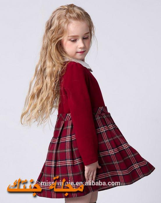 فستان اطفال شتوي كاروهات جميل جداً