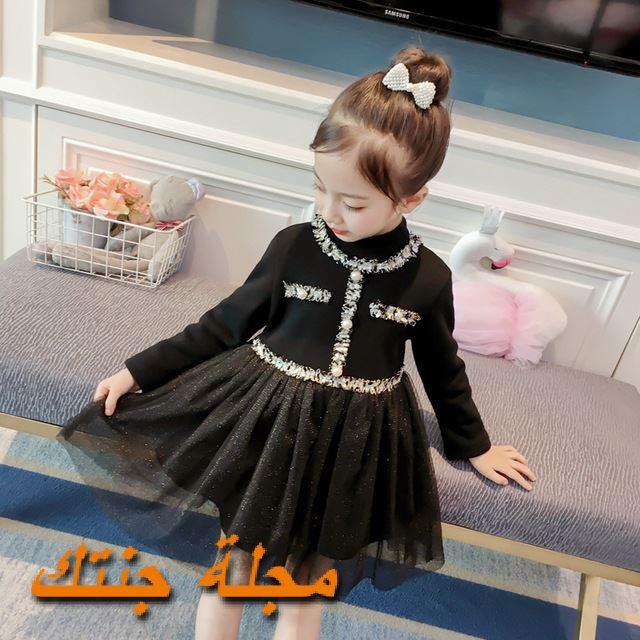 فستان اطفال شتوي للافراح باللون الاسود