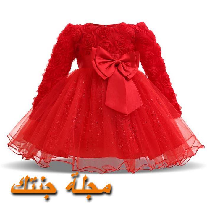 فستان حديثي الولادة ياللون الاحمر شتوي مناسب للافراح