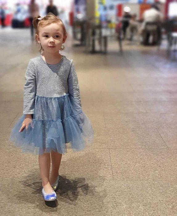فستان شتوي سواريه باللون الرمادي للاطفال