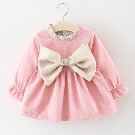 فستان شتوي لحديثى الولادة شيك جداً