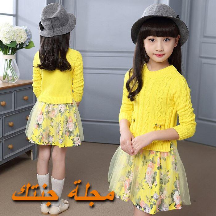 فستان شتوي للأطفال باللون الاصفر حلو جداً