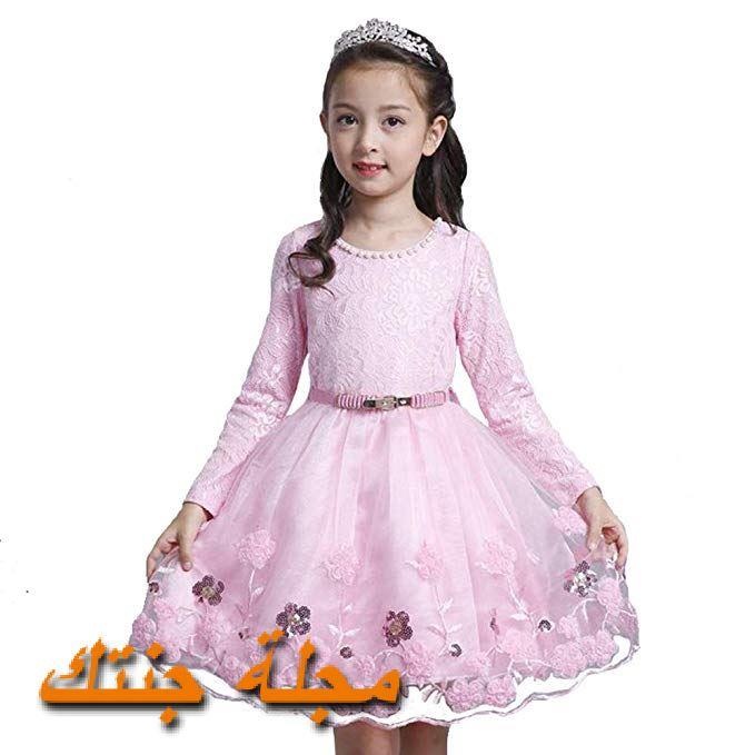 فستان شتوي للافراح باللون الروز