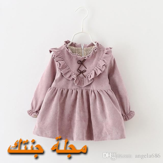 فستان شتو حديثي الولاد قطيفة باللون الموف