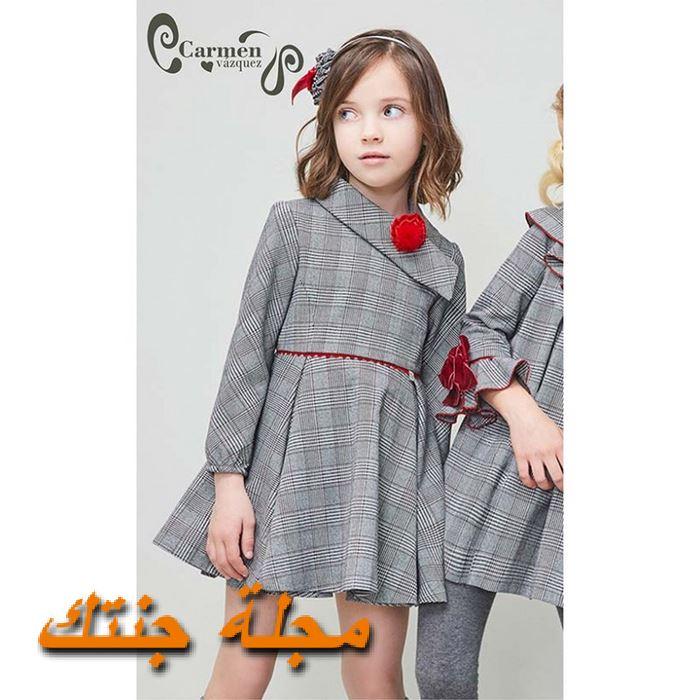 فستان كاروهات شتوي للاطفال باللون الرمادي