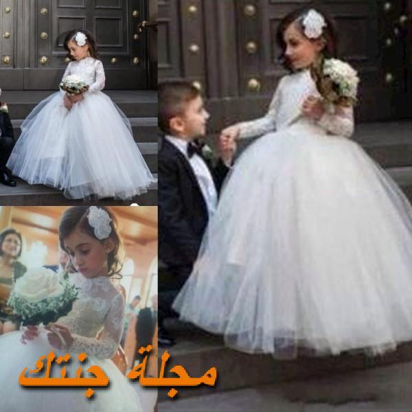 فستان للاطفال شتوي للافراح باللون الابيض