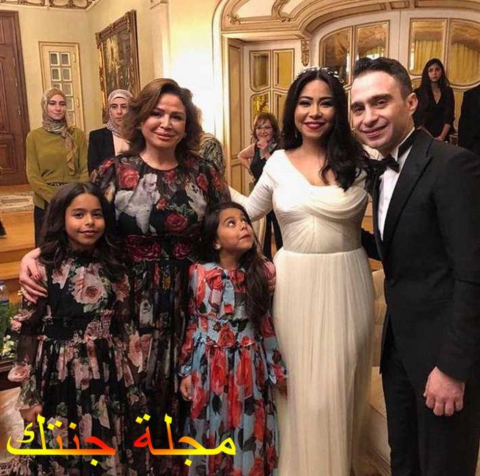 حسام و شيرين مع الفنانة الهام شاهين في حفل زواجهم