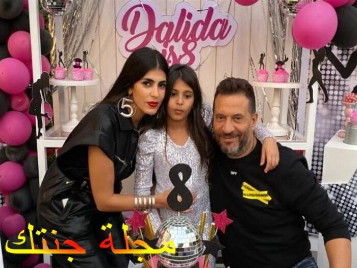 ماجد المصرى و زوجته في عيد ميلاد ابنته